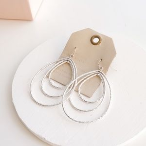 Anthropologie Layered Hooped Earrings Silver
